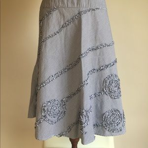 Sunny Leigh Embellished Seersucker A-line Skirt 6